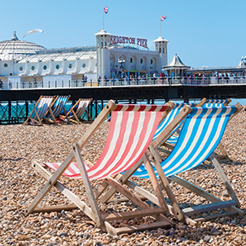 Deck Chairs and the Palace Pier, Brighton - Square