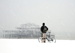 Cyclist and West Pier, Brighton