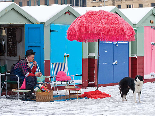 Beach Huts in the Snow, Hove #5 - with John the Van