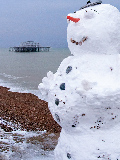 Snowman and the West Pier, Brighton