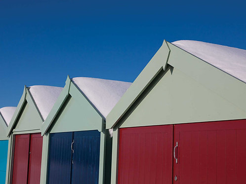 Beach Hut Roofs in the Snow, Hove