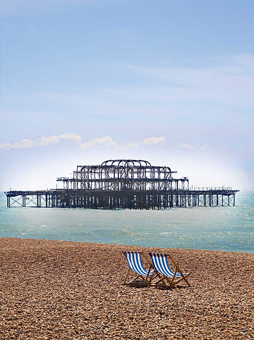 Deck Chairs and the West Pier, Brighton - Square