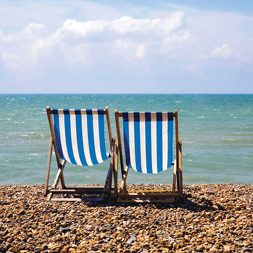 Two Deck Chairs, Brighton - Square Card