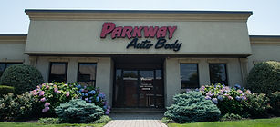 Parkway Auto Body, Nutley, NJ, Building Front, Curbside View, Street View, Landscaping, Flowers, Bushes, Shrubs,