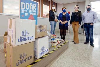 Fundo Social recebe doações arrecadadas em ação da Uninter, ACIB e do North Shopping