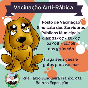 Sindicato dos Servidores Públicos Municipais terá posto de vacinação Antirrábica