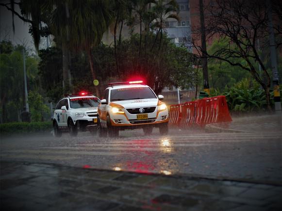 fast response cars on a raini day