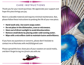 Product Care Postcard Insert