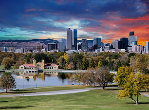 Denver skyline across city park in autum