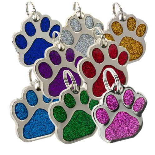 Glitter Tags for Dogs Paw print