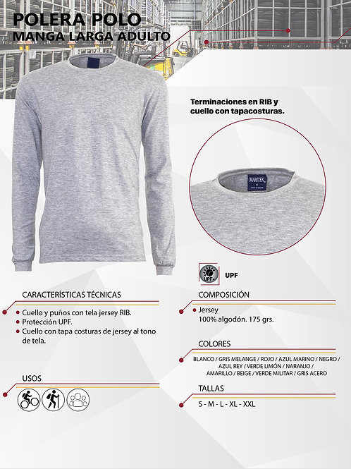 Polera Polo ML jersey 100% algodón