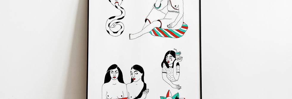 A4 Original drawing / Femme fatale
