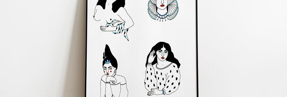 A4 Original drawing / Les divas