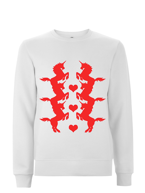 Unicorn Red on White Sweatshirt
