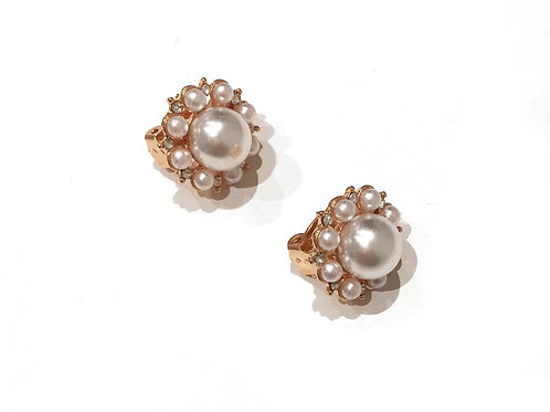 Floral Gold Tone Faux Pearl Huggy Earrings