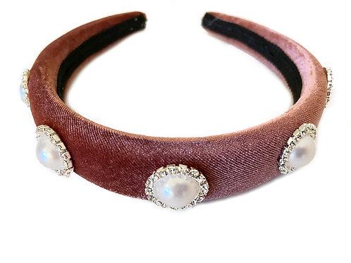 Blush Pink Velvet Royal Faux Pearl Crown