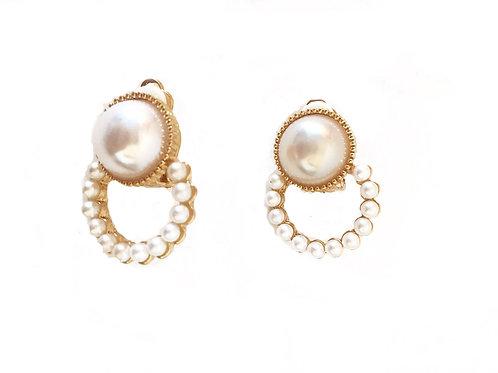 Gold Tone Faux Pearl Huggy Earrings