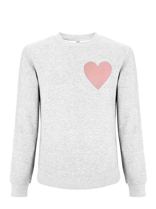Classic Melange White Sweartshirt with Heart