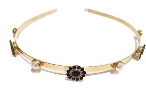 Slim Gold Daisy Pearl Crown