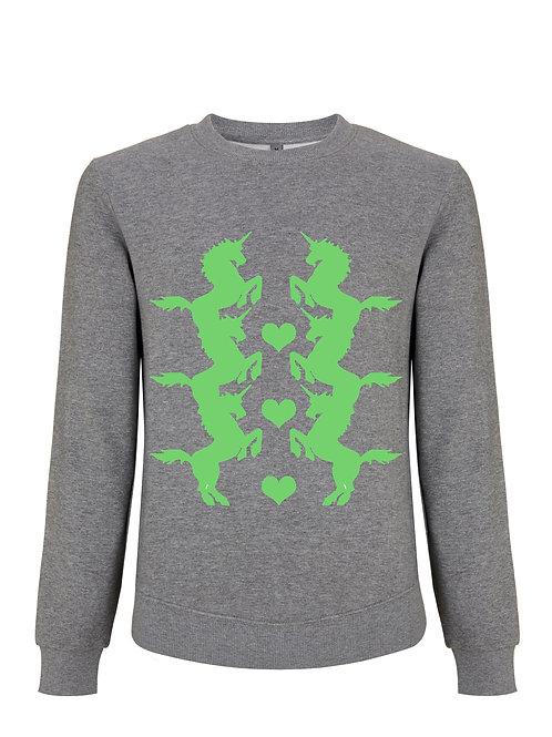 Unicorn Green on Melange Grey Sweatshirt