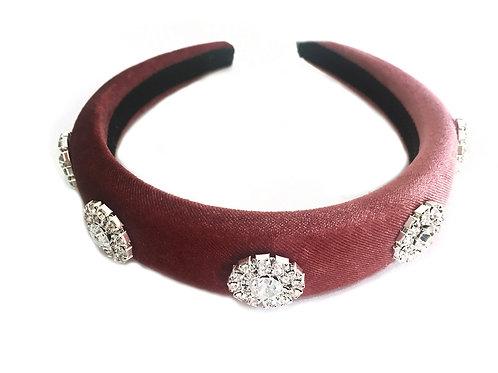 Blush Pink Velvet Royal Crystal Crown