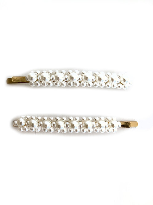 White Pearly Hair Grips - Set of 2