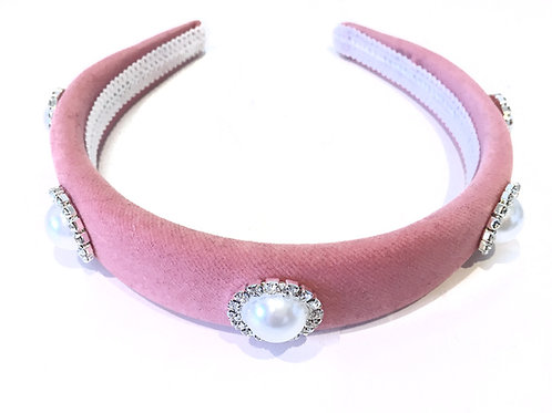 Velvet Pink Royal Faux Pearl Crown