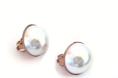 Rose Gold Tone Faux Pearl Earrings