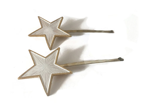 My Lucky Stars White Extra Large Hair Grips - Set of 2