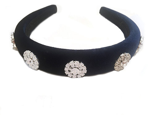 Navy Blue Velvet Royal Crystal Crown