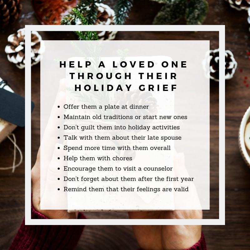 Infographic with tips about helping grief during holiday season