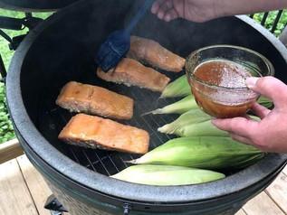 Tasty salmon grilling!