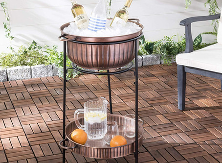 Safavieh PIT2006A Outdoor Collection Naka Antique Copper and Black Beverage Tub W/Stand Fire Pit