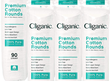 Cliganic Premium Cotton Rounds for Face (540 Count) | Makeup Remover Pads, Hypoallergenic, Lint-Free