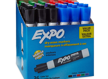EXPO Low Odor Dry Erase Markers, Chisel Tip, Assorted, 36 Count