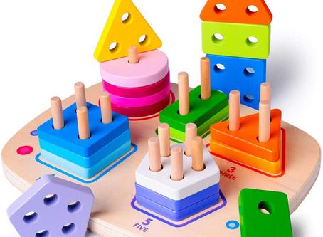 Wooden Toddler Shape Sorter, Geometric Block Sorting & Stacking