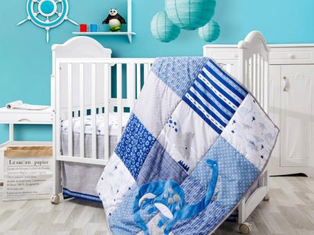 3 Piece Baby Appliqued Embroidered Dinosaur Crib Bedding Set