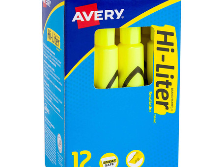 Avery Desk-Style Highlighters, Smear Safe Ink, Chisel Tip, 12 Fluorescent Yellow Highlighters