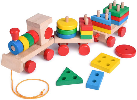 FunLittleToy 15.5 Inches Wooden Stacking Toys Train with Shape Sorter and Stacking Blocks