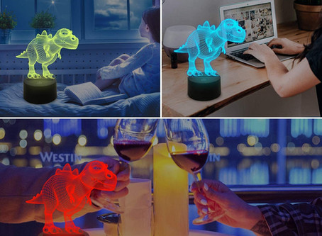 FULLOSUN Night Light for Kids Dinosaur T-rex 3D Bedside Lamp 16 Colors Changing with Remote Control