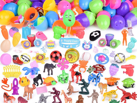 100PCs Easter Eggs Prefilled with Assorted Small Toys for Easter Basket Stuffers