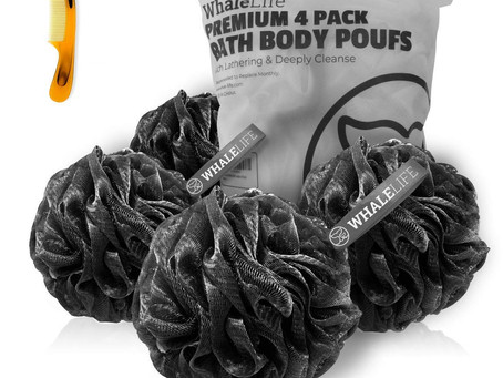 Shower Puff 4 Pack Black Bath Sponge Shower Loofahs Pouf Ball Nature Bamboo Charcoal Mesh Bulk Puffs