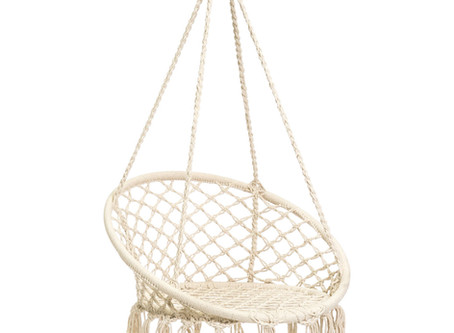 BCP Handwoven Cotton Macrame Hammock Hanging Chair Swing w/ Backrest