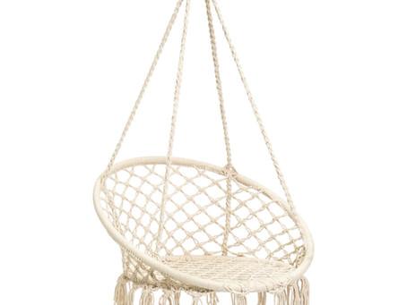 BCP Handwoven Cotton Macrame Hammock Hanging Chair Swing w/ Backrest