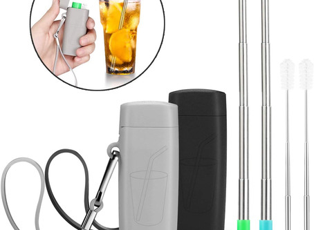 Vantic Telescopic Stainless Steel Travel Metal Straw with Carrying Case & Silicone Flex Tip