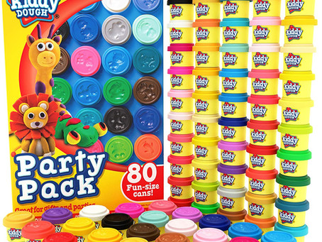 KIDDY DOUGH 80 Pack of Dough - Includes Molded Animal Shaped Lids - 1 0unce Dough Tubs