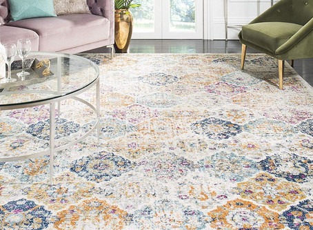 Safavieh Madison Collection Bohemian Chic Vintage Distressed Area Rug, 5' Square, Cream/Multi
