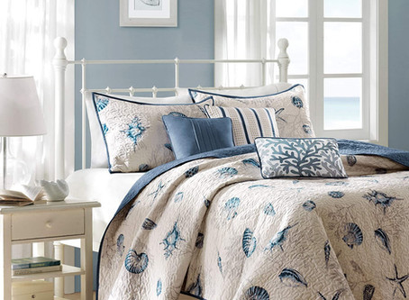 "Madison Park Bayside COVERLET&BEDSPREAD, Full/Queen(90""x90""), Blue"