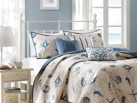 """Madison Park Bayside COVERLET&BEDSPREAD, Full/Queen(90""""x90""""), Blue"""
