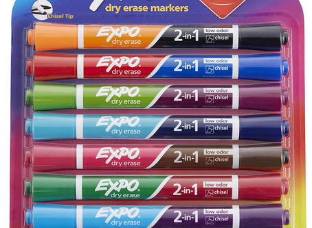 EXPO 1944658 2-in-1 Dry Erase Markers, Chisel Tip, Assorted Colors, 8-Count
